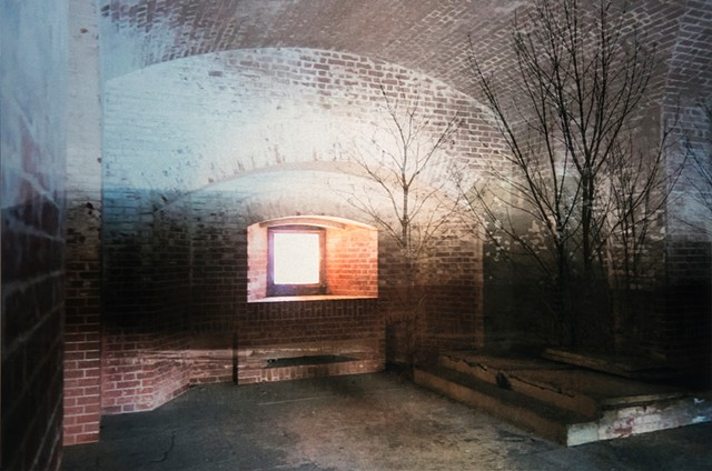 Photomontage collage photograph infused onto aluminum metal of forest and brick wall with glowing window by Brandy Eiger mixed media artist
