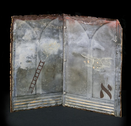 Mixed Media encaustic artist book sculpture on metal containing Hebrew letter by Brandy Eiger