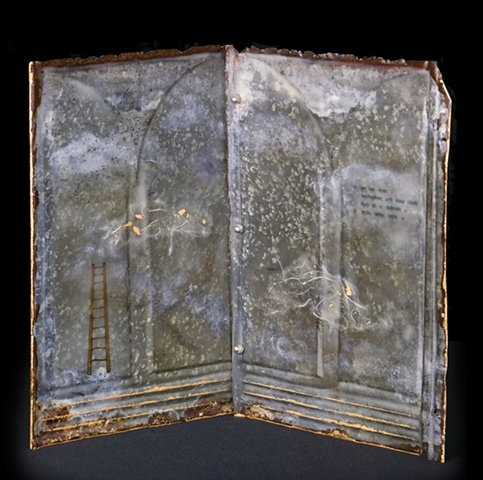 Mixed Media encaustic artist book sculpture on metal by Brandy Eiger with calligraphy and ladder