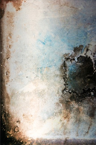 Abstract Photograph infused onto shimmering aluminum metal of blue mystical emerging forms in universe by Brandy Eiger Mixed Media artist