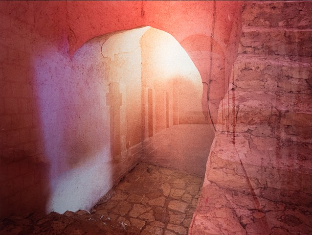 Photograph photomontage metal art of spiritual Mexican convent with spiritual mystical pink light by mixed media artist Brandy Eiger