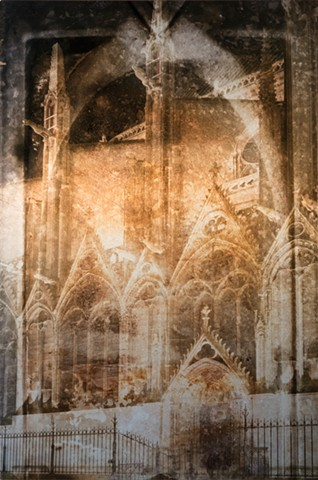 Photomontage collage metal photograph infused onto silvery aluminum of Paris Notre Dame cathedral at night by Brandy Eiger mixed media artist