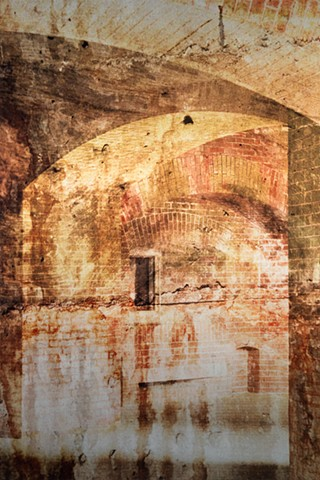 Photomontage collage metal fine art photograph infused onto aluminum of ancient brick doorways in green and orange by Brandy Eiger Mixed Media artist