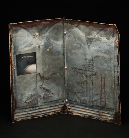 Mixed Media encaustic artist book sculpture on metal by Brandy Eiger with calligraphy prayer photograph and ladder