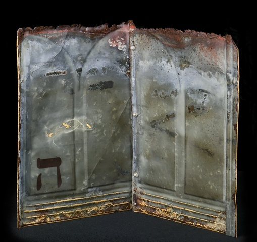 Mixed Media encaustic on metal artist book containing Hebrew letter by Brandy Eiger