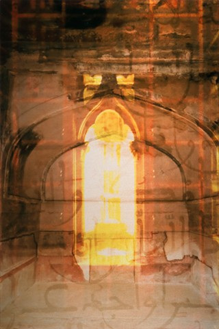 Photomontage collage photograph metal art infused onto shimmery aluminum of glowing window in red orange library and calligraphy prayers by Brandy Eiger Mixed Media artist