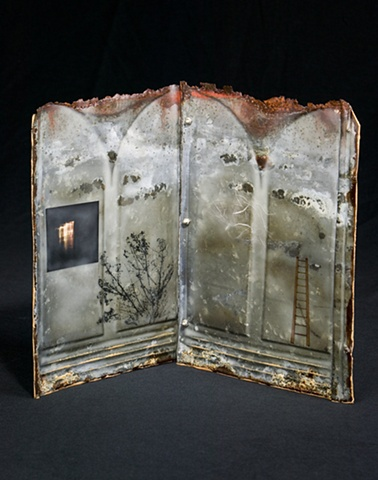 Mixed Media encaustic painted book sculpture on metal by Brandy Eiger with ladder and photograph