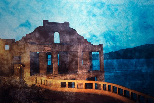 photograph photomontage collage on aluminum metal of Alcatraz Island San Francisco and a mystical spiritual bridge by mixed media artist Brandy Eiger
