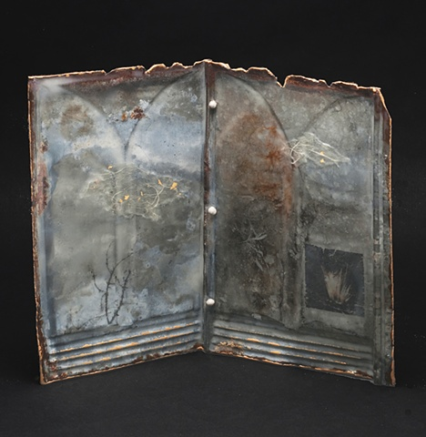 Mixed Media encaustic artist book sculpture on metal containing tree and photograph by Brandy Eiger