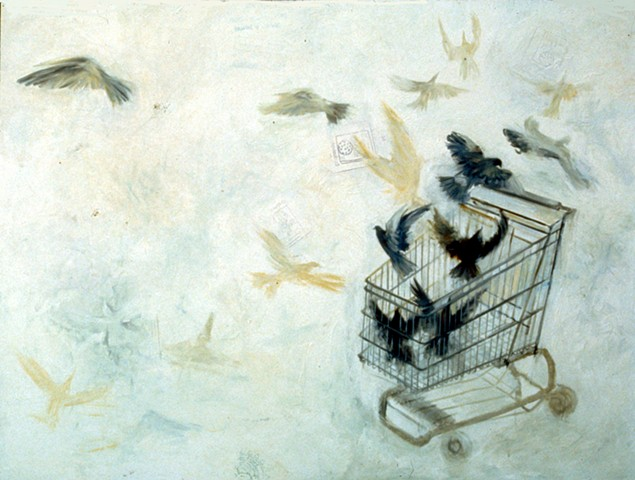 birds, shopping cart
