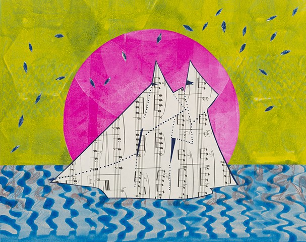 Pink Moon with Sailing Ship