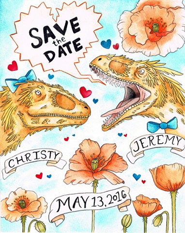 Save the Date Velociraptors