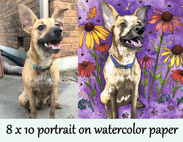 Pet portrait 8x10 watercolor paper