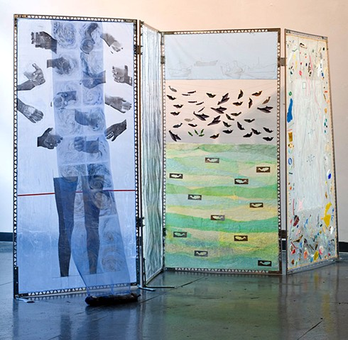 Sea Screen in 4 segments - Thirst & Rising water / Memory of Fish / Dreaming Drowned / Oceans of Garbage