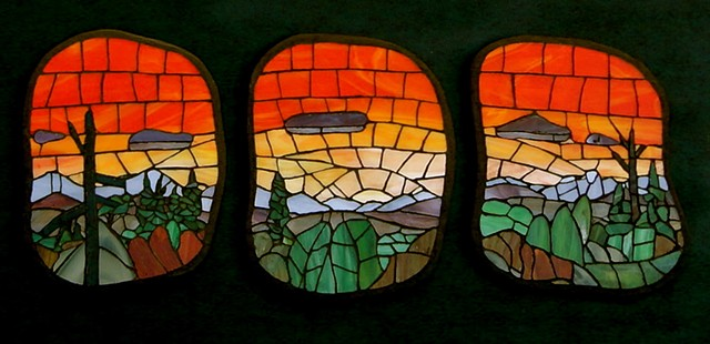 stained-glass mosaic sunset