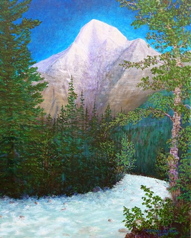 Painting, Mount Robson, Rocky Mountains, Kinney Lake Trail, Mt. Robson Provincial Park, Canada
