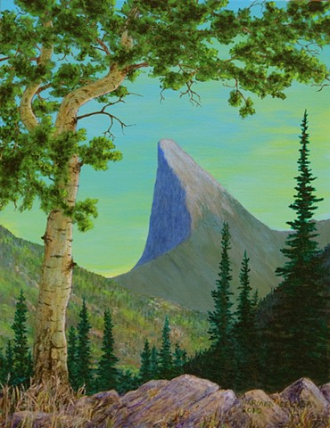 A painting of the silhouette of Tombstone Mountain in the Flathead Valley in the south-east corner of B.C. from a nearby pass.