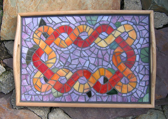 Celtic knot Mosaic tea tray