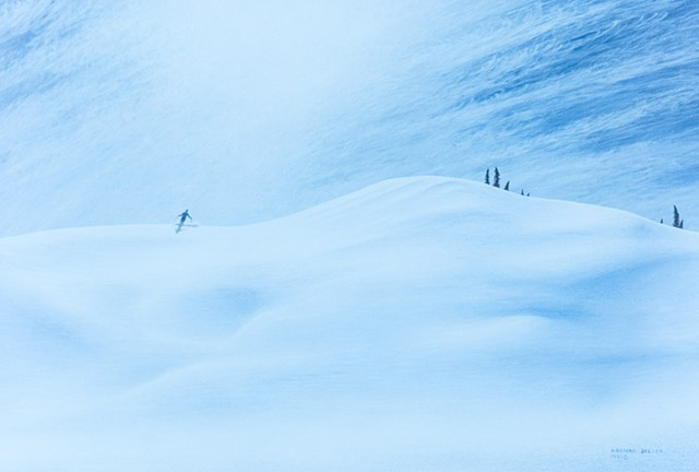 Painting of a skier on untracked power snow, Fernie, B.C.