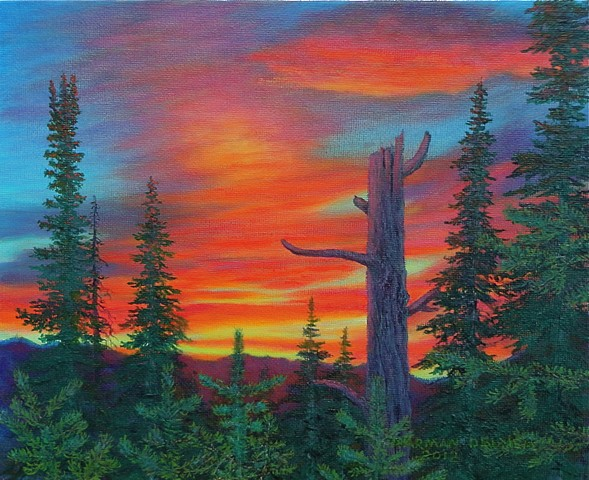 Painting of a sunset in the Rocky Mountains near Fernie, B.C.