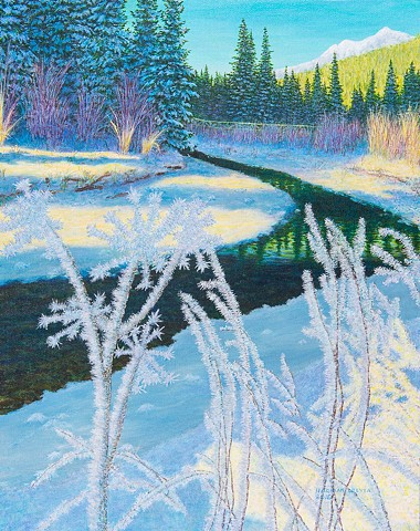 Mount Fernie Provincial Park, hoar frost, Fernie, Lizard Creek, winter, Rocky Mountain landscape painting