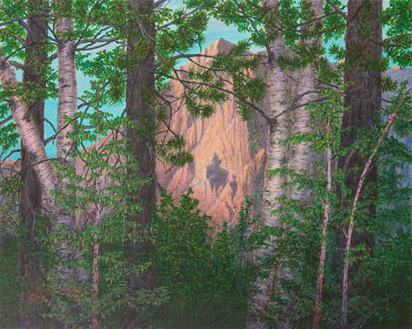 painting of legendary shadow on Hosmer Mountain at Fernie, B.C.,