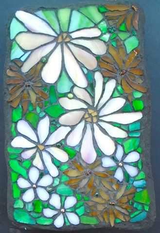 stained glass mosaic, pink and brown, flowers