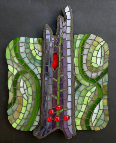 conceptual stained glass mosaic art forest