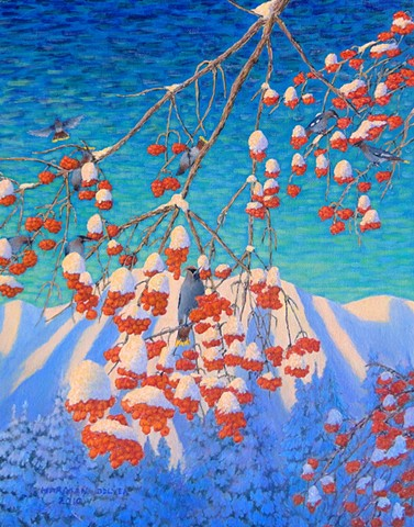 A painting of ripe, red cranberries covered with snow, and waxwings, with Mount Fernie, Fernie, B.C.