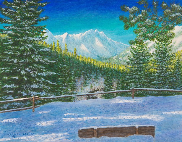 Painting of a winter scene from Sherwoody Trail Lookout near Fernie, B.C.