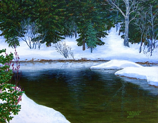 A painting of a still pond beside Lizard Creek in the Rocky Mountains, near Fernie, B.C.