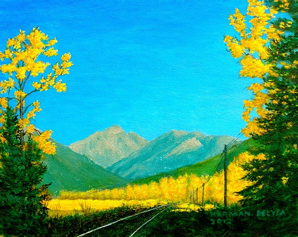 Painting of the Rocky Mountains and country-side at Fernie, B.C.
