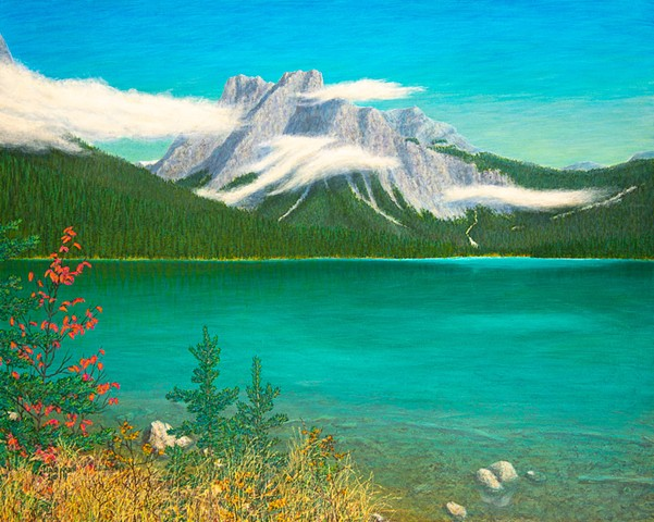 Emerald Lake, Yoho National Park, Parks Canada, glacier, Rockies, Canadian Rockies, Rockies painting, Rocky Mountain Painting,