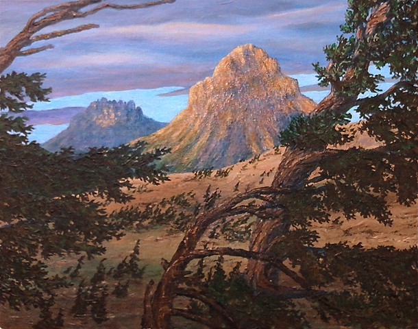 A painting of bell-shaped Crowsnest Mountain in the Crowsnest Pass of Highway 3, connecting south-eastern B.C. and Alberts