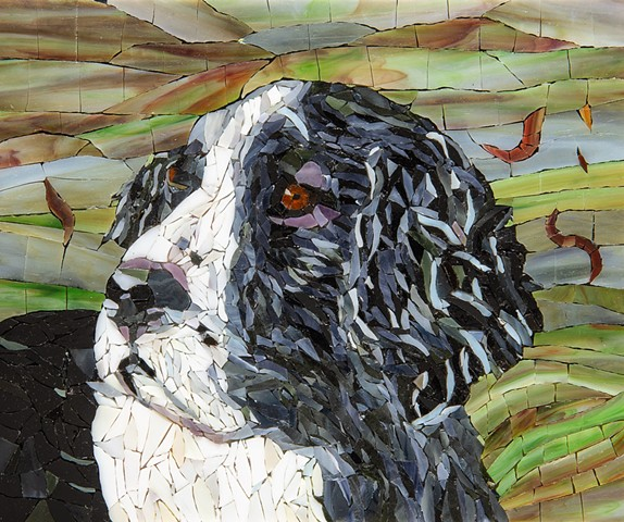 stained glass mosaic dog springer spaniel dog