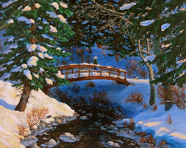 A painting of a person and a dog on a bridge in winter in Mount Fernie Provincial Park near Fernie, B.C.