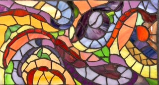 Abstract art, stained-glass mosaic, summer, orange, purple,