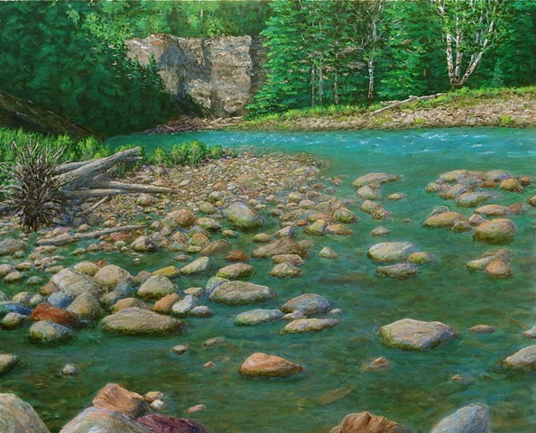 Painting of the Bull River in summer north of Fernie, B.C. in Rocky Mountains