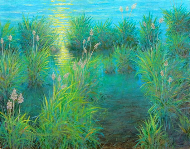 Painting of shallow lake shore and grasses near Fernie, B.C.