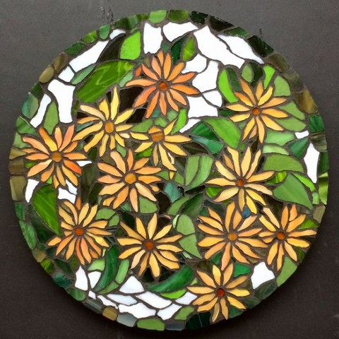 gold colours, flowers, mosaic, stained-glass, Fernie