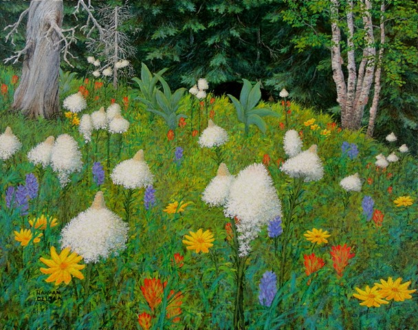 A painting of Rocky Mountain wild flowers, including bear grass, lupins, sun flowers and indian paint brush in the woods near Fernie, B.C.