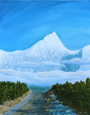 A painting of 9300 metre-high Fisher Peak which dominates the Rocky Mountains east of Cranbrook near Fort Steele, B.C.