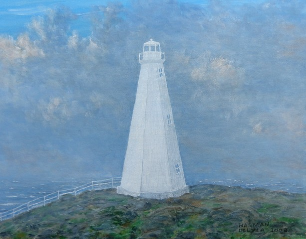 A painting of the Cape Spear Lighthouse on the most eastern point of North America, near St John's Newfoundland