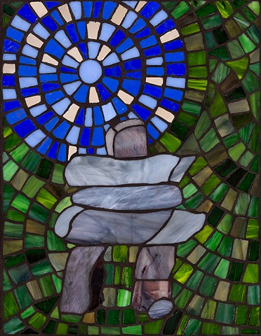 inukshuk, stained glass, mosaic, Canadian