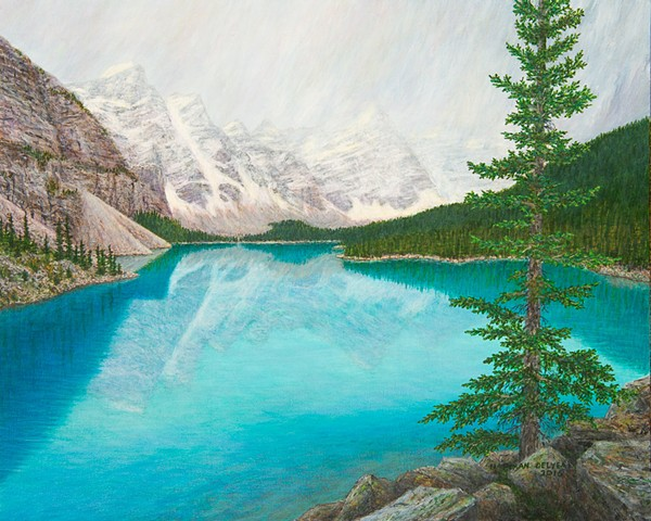 Moraine Lake, Banff National Park, Canadian Rocky Mountain painting, Valley of the Ten Peaks, Banff tourist attraction