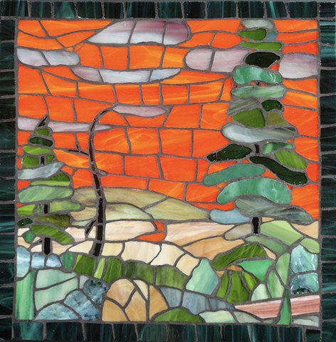 Sunset, Stained-glass, Mosaic,