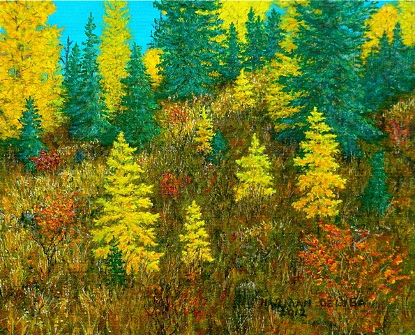 Painting of yellow Larch Tamarack trees in autumn in the Rocky Mountains near Fernie, B.C.