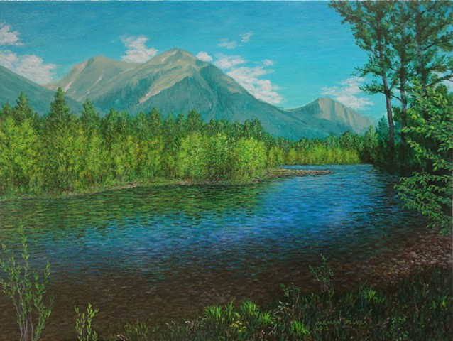 A painting of the Elk River in the summer with the Rocky Mountains in the background at Fernie, B.C.