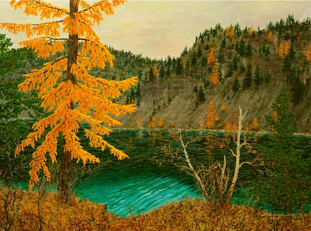 A painting of golden-yellow larch, tamarack trees at Silver Springs Lake near Fernie, B.C.