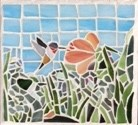 hummingbird, bird, stained-glass, mosaic, garden art,